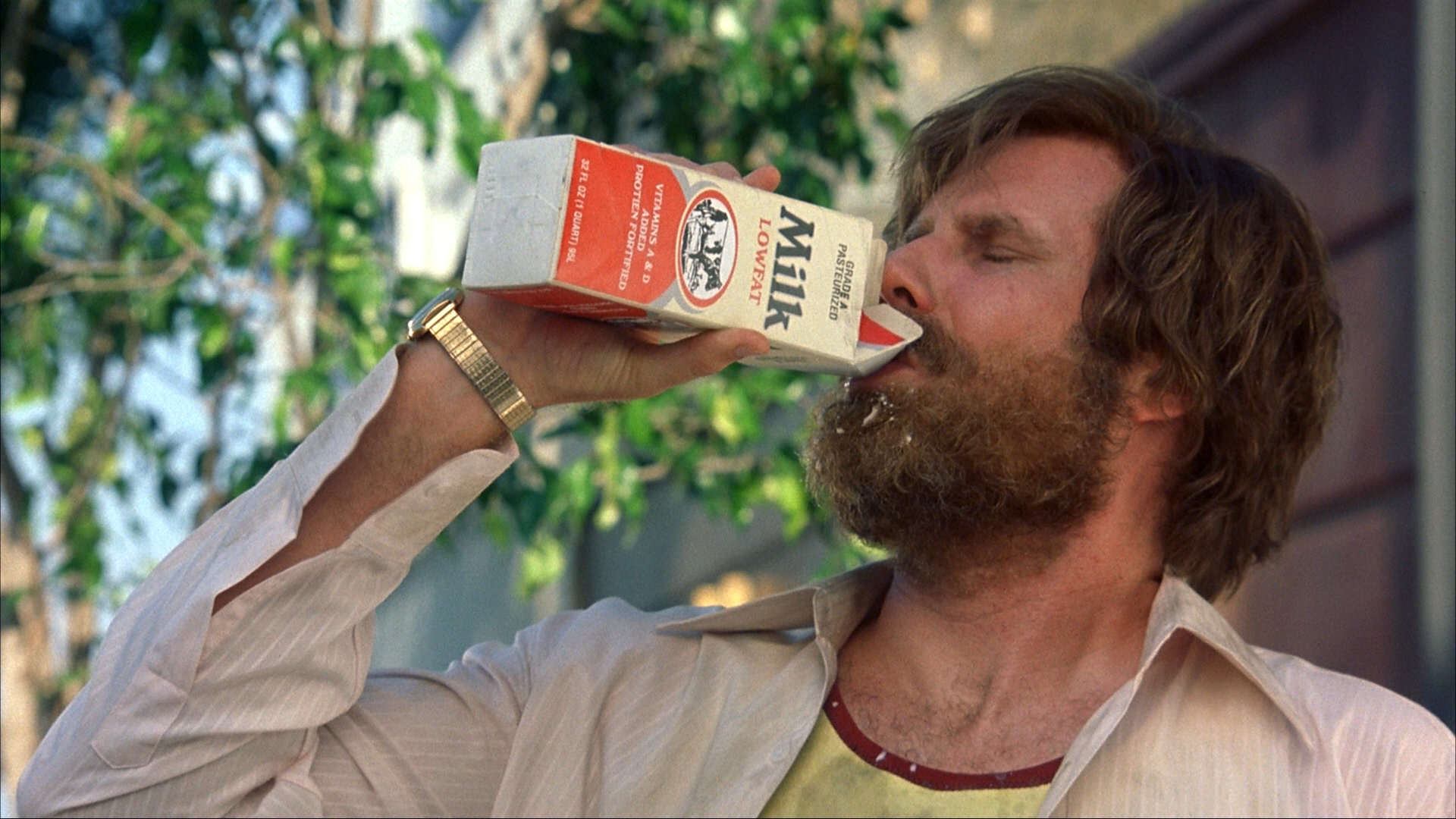 Mr Burgundy immediately regretted his decision to drink milk.